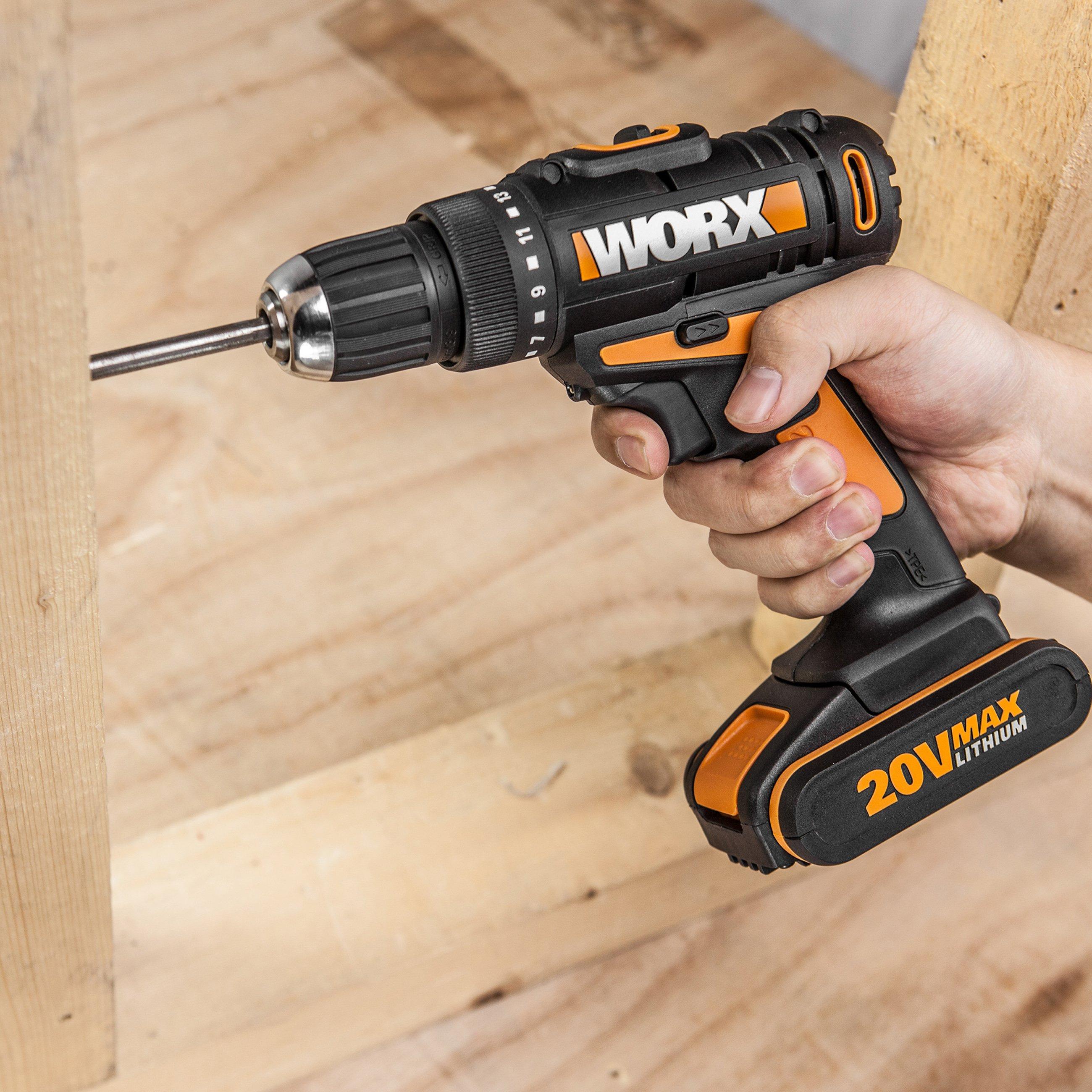 Worx WX166.3 20V Akku-Bohrschrauber, Anwendung waagrecht